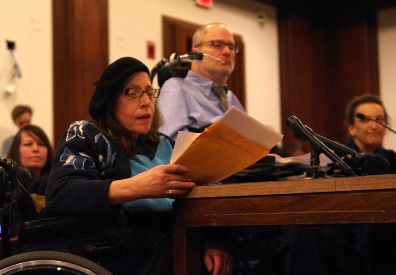 Karen Schneiderman testifies against Assisted Suicide at the State House in 2012.